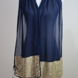 Vince Camuto Blue Rectangle Scarf Gold Sequins NEW